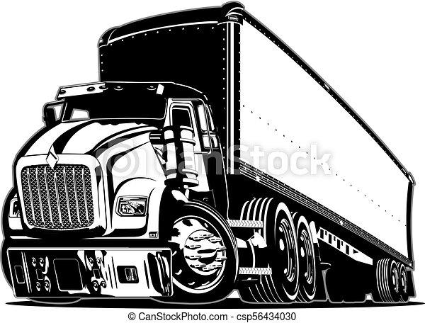 lastbil, tecknad film, halv- - csp56434030