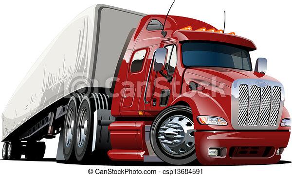 lastbil, tecknad film, halv- - csp13684591