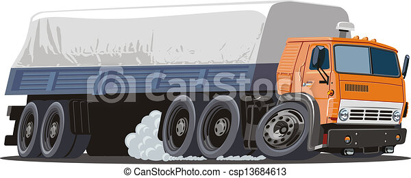 lastbil, tecknad film, halv- - csp13684613