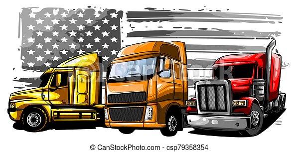 lastbil, tecknad film, illustration, vektor, halv-, design, konst - csp79358354