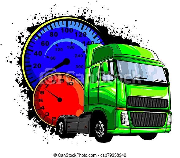 lastbil, tecknad film, illustration, vektor, halv-, design, konst - csp79358342