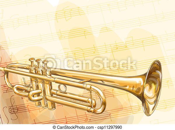Trompeta de bronce. - csp11297990