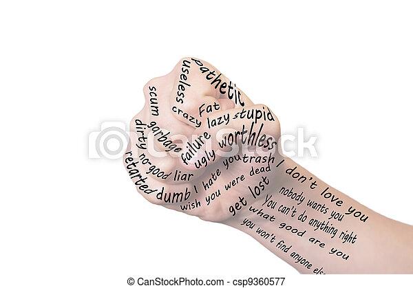 lata, palavras, magoado - csp9360577