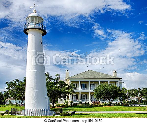 latarnia morska, historyczny, biloxi, ms - csp15419152