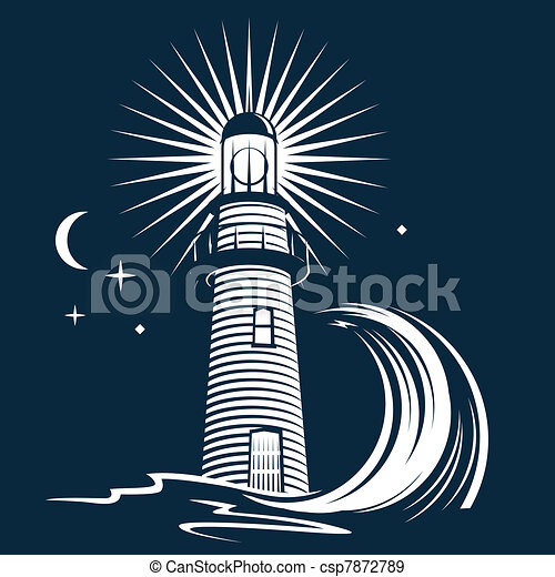 latarnia morska, &, machać - csp7872789