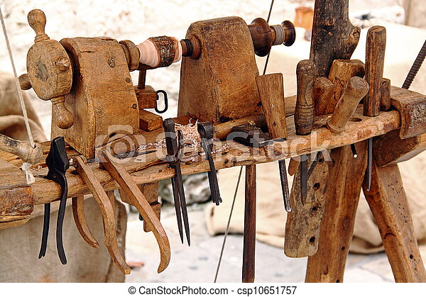 Lathe and tools for woodworking: hammer, chisels, pliers ...