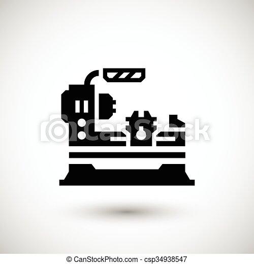 lathe machine icon isolated on grey vector illustration