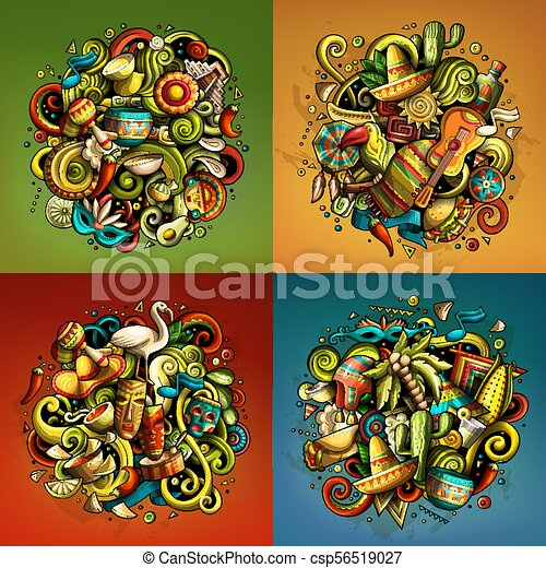 Latin America Cartoon Vector Doodle Illustration Colorful Detailed