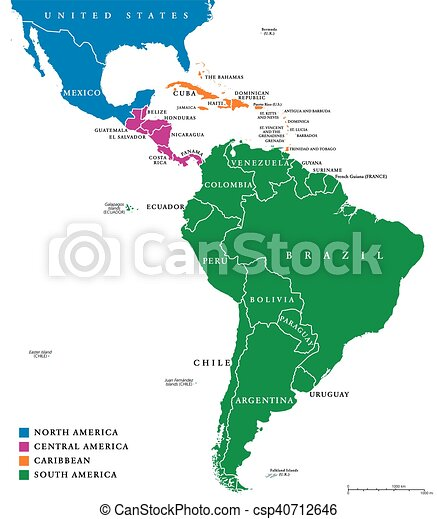 Latin America Regions Political Map The Subregions Caribbean North Central And South America In Different Colors With