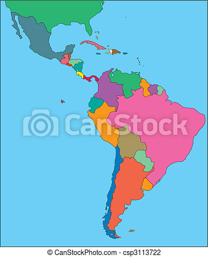 Latin America with Editable Countries - csp3113722