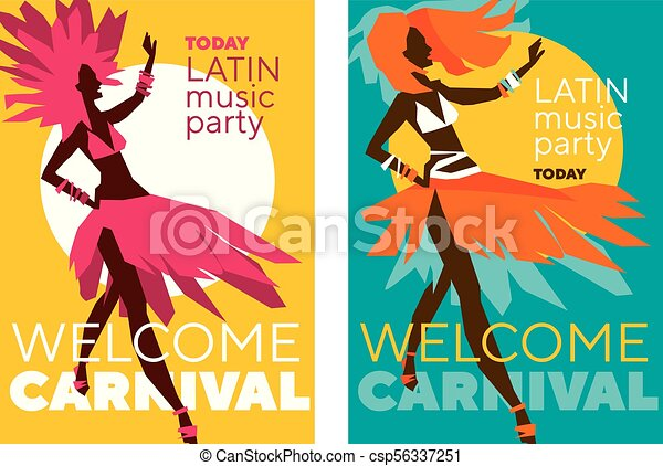 latin music carnival poster tropical color sketch style rumba girl