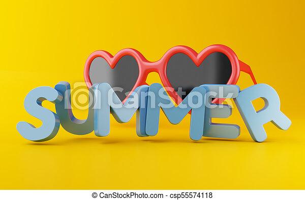 lato, 3d, słowo, sunglasses. - csp55574118
