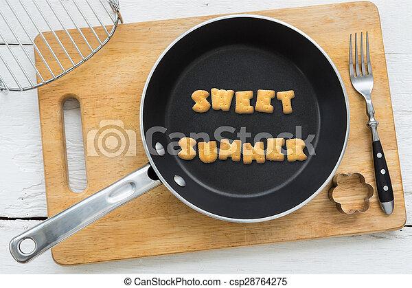 Lato Ciasteczka Słowo Słodki Przybory Litera Kuchnia