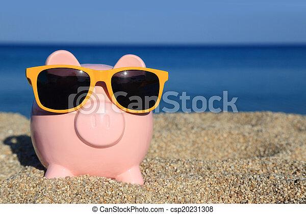 lato, plaża, sunglasses, piggy bank - csp20231308
