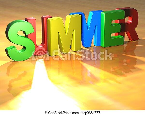 lato, słowo, żółte tło - csp9681777