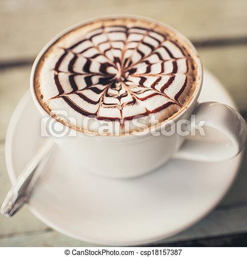 latte-art, 暑い, カップ, mocca, latte, コーヒー - csp18157387