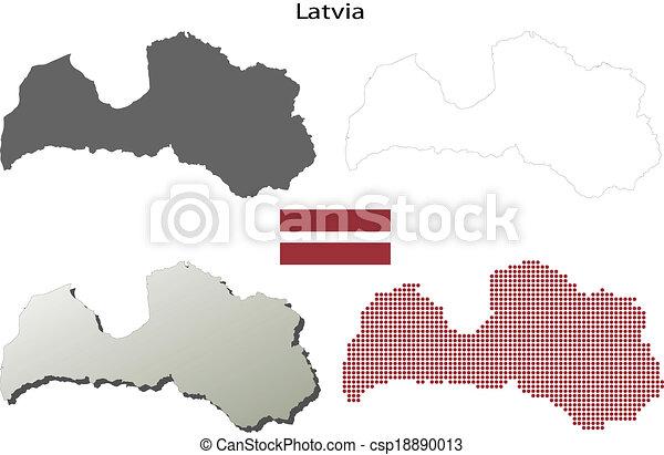 Latvia blank outline map set high detailed isolated blank outline latvia blank outline map set csp18890013 publicscrutiny Gallery