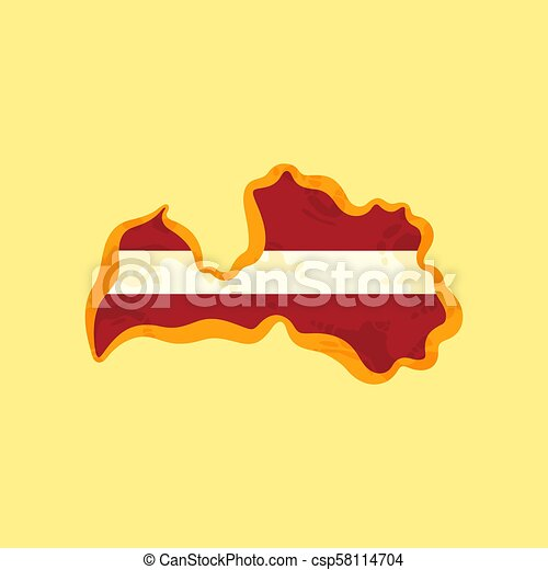 Latvia - Map colored with Latvian flag - csp58114704