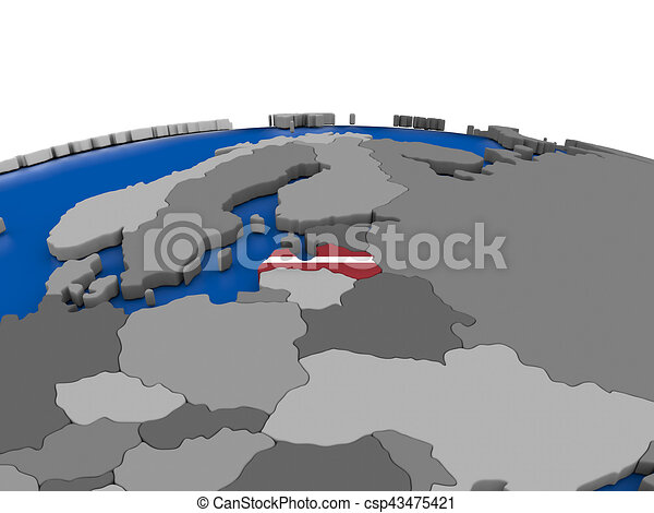 Latvia on 3D globe - csp43475421