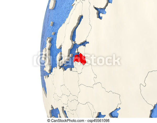 Latvia on 3D globe - csp45561098