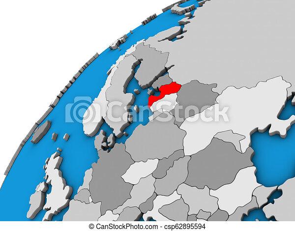 Latvia on 3D globe - csp62895594