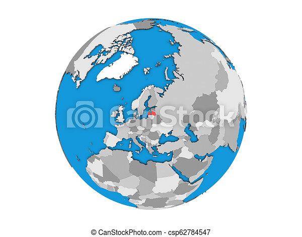 Latvia on 3D globe isolated - csp62784547