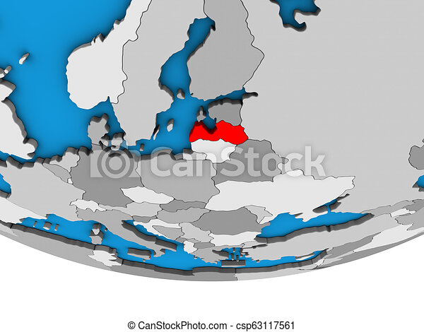 Latvia on 3D globe - csp63117561