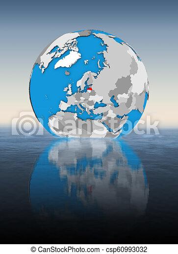 Latvia on globe in water - csp60993032