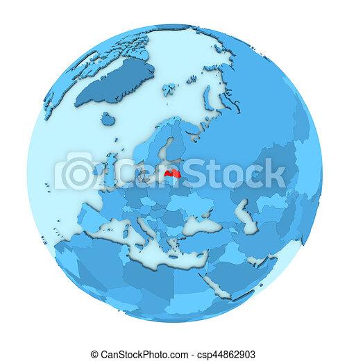 Latvia on globe isolated - csp44862903