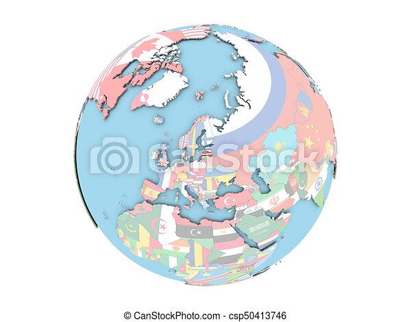 Latvia on globe isolated - csp50413746