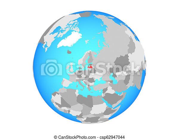 Latvia on globe isolated - csp62947044