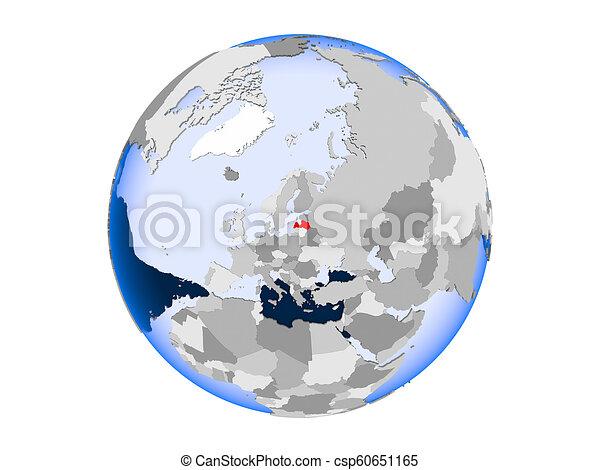 Latvia on globe isolated - csp60651165