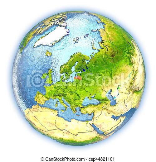 Latvia on isolated globe - csp44821101