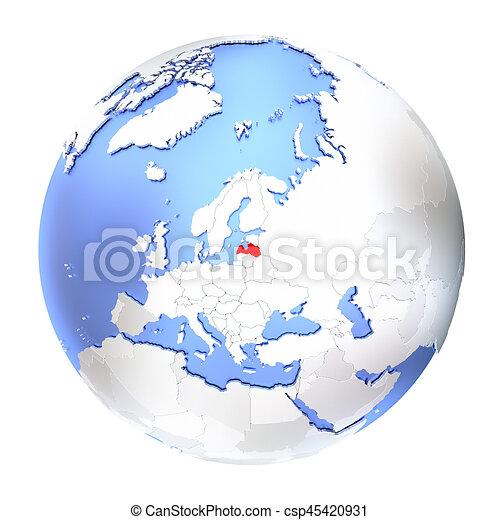 Latvia on metallic globe isolated - csp45420931