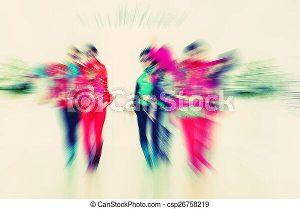 laufsteg, mannequins, abstrakt, -, zoom, bl, hintergrund, strahlig - csp26758219