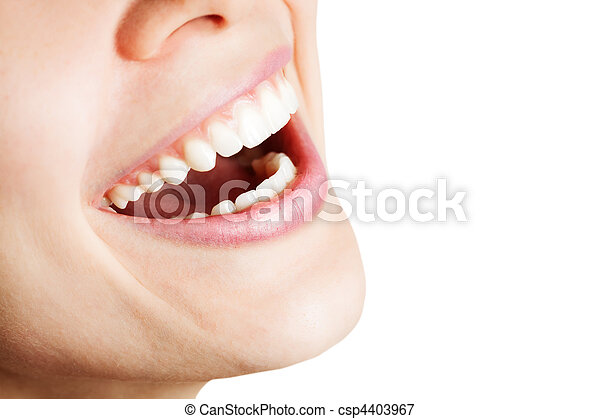 Laugh of happy woman with healthy teeth - csp4403967