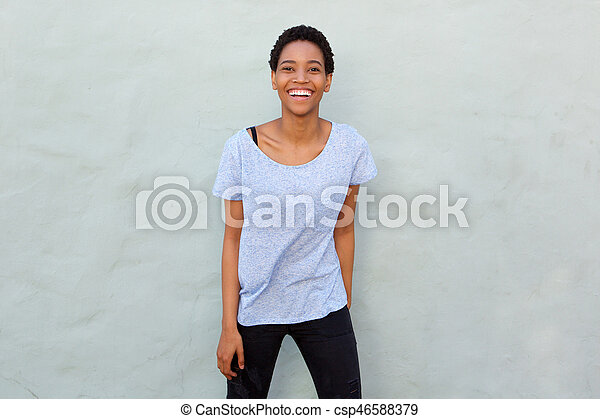laughing african american woman - csp46588379