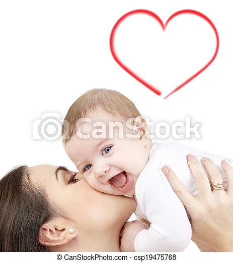 laughing baby playing with mother - csp19475768