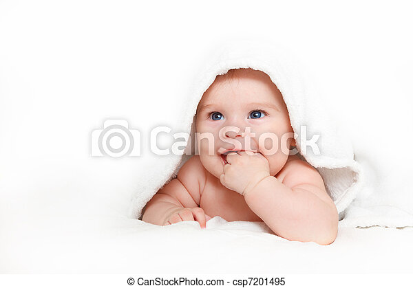 Laughing baby with towel - csp7201495