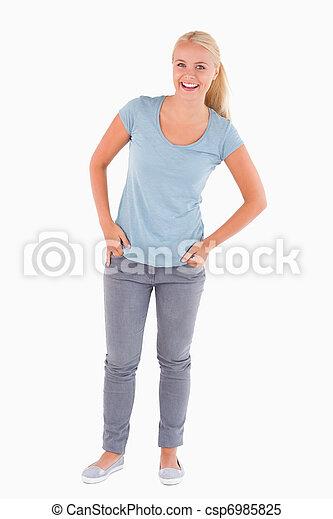 Laughing blond woman - csp6985825