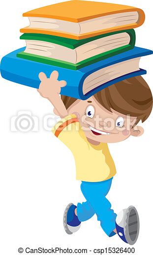 laughing boy with books - csp15326400