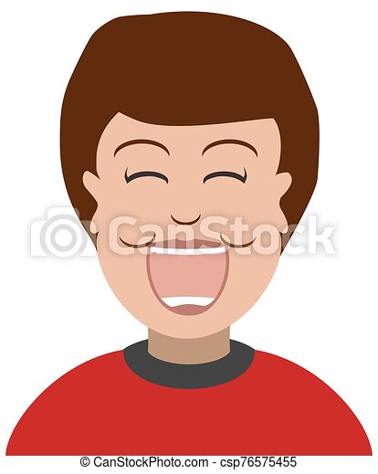 Laughing Cartoon Boy - csp76575455