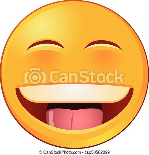 laughing emoji or emoticon vector image