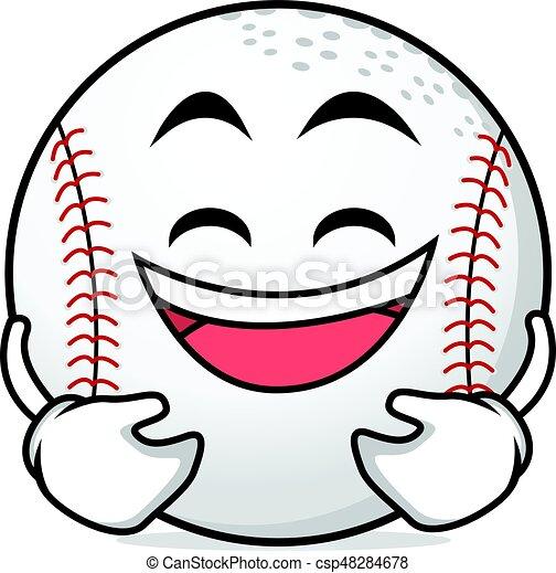 laughing face baseball cartoon character vector art