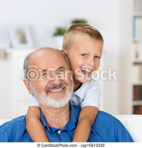 Laughing grandfather with his grandson - csp15613339