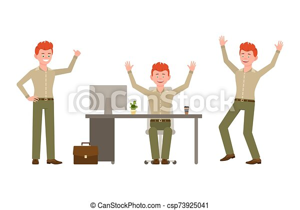 Laughing, happy, funny red hair young office worker in green pants vector illustration. Having fun, jumping, sitting at the desk winner boy cartoon character set - csp73925041