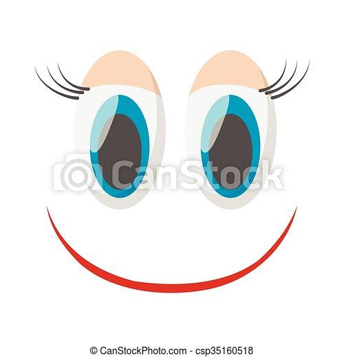 Laughing happy smile icon, cartoon style - csp35160518