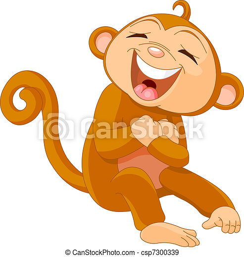 laughing monkey funny cute little monkey laughing eps vectors rh canstockphoto com clip art laughing owl clip art laughing lady