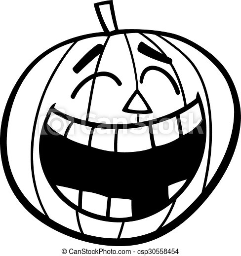 laughing pumpkin coloring page black and white cartoon illustration