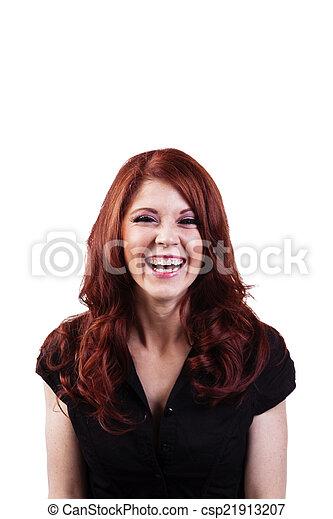 Laughing Redheaded Caucasian Woman Black Top Portrait - csp21913207